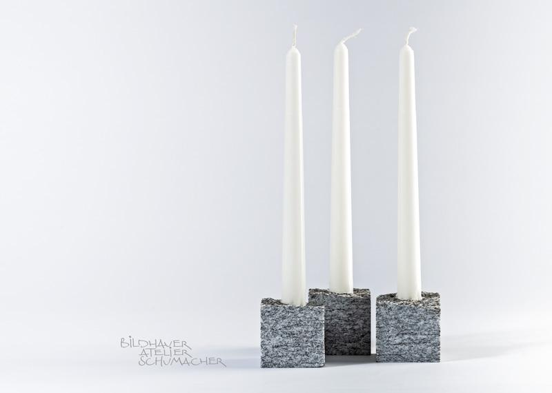 Kerzenhalter aus Calanca Gneis